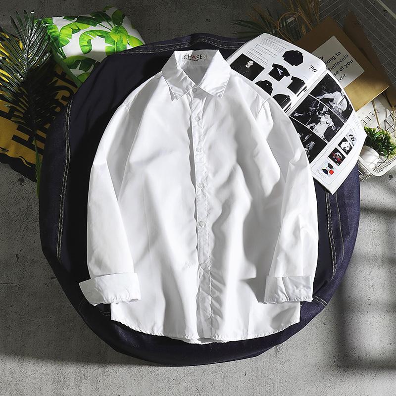 男士长袖衬衫 白衬衫男商务休闲青年韩版潮流职业纯色长袖薄款衬衣上班工作衣服_推荐淘宝好看的男长袖衬衫