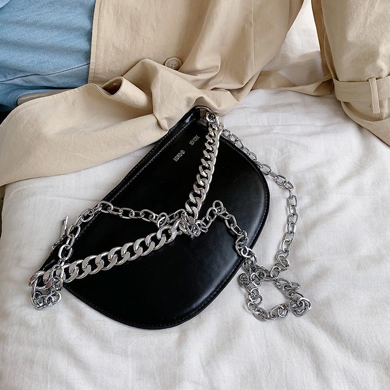 黑色链条包 网红小包包质感斜挎女包2019新款潮时尚黑色单肩链条包洋气马鞍包_推荐淘宝好看的黑色链条包