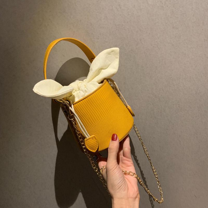黄色链条包 上新小包包时尚女包2019新款手提包港风潮韩版单肩斜挎链条水桶包_推荐淘宝好看的黄色链条包