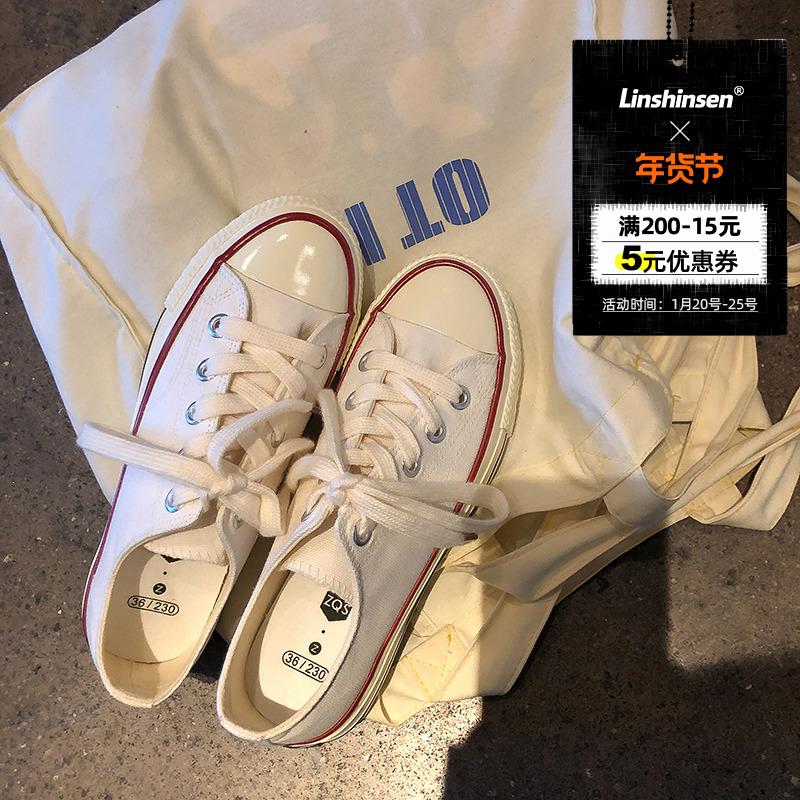 白色帆布鞋 林先参  一双万年百搭的1970s白色帆布鞋女低帮韩版街拍ins小白鞋_推荐淘宝好看的白色帆布鞋