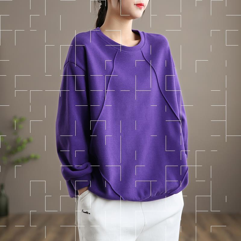 女士套头卫衣 dza 文艺复古圆领套头卫衣女士紫色宽松短款外套新款春季韩版上衣_推荐淘宝好看的女士套头卫衣