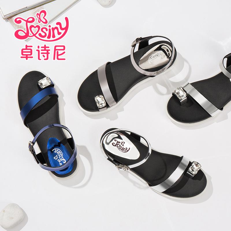 新款水钻凉鞋 卓诗尼夏季新款中跟平跟休闲凉鞋露趾水钻女鞋_推荐淘宝好看的女新款水钻凉鞋