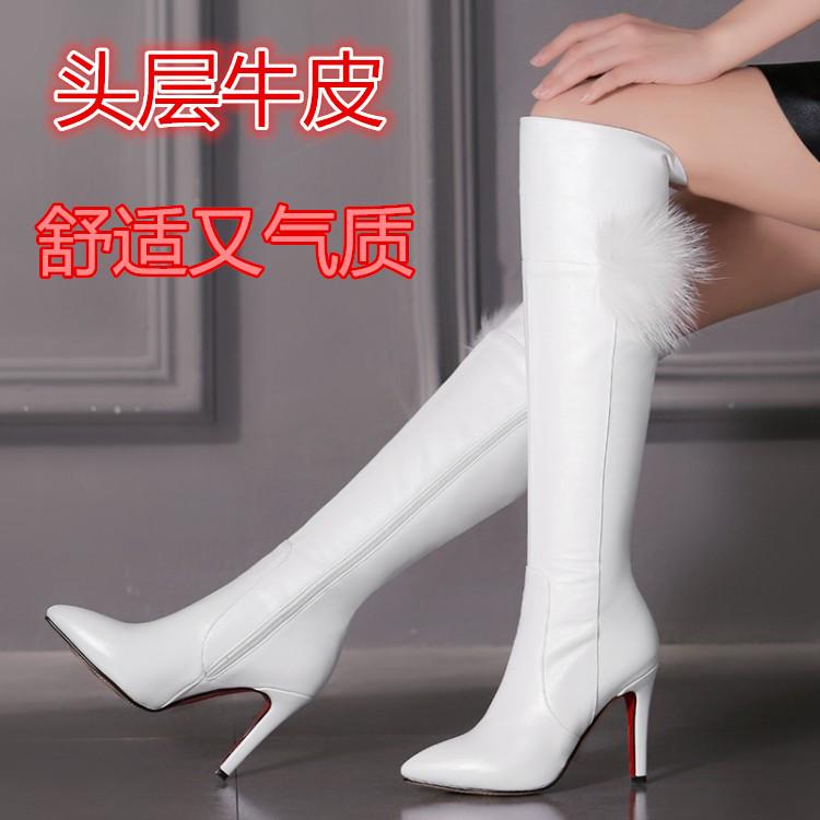 白色靴子 秋冬2019新款婉 百丽正品长靴真皮细跟尖头长筒靴白色高跟女靴子_推荐淘宝好看的白色靴子