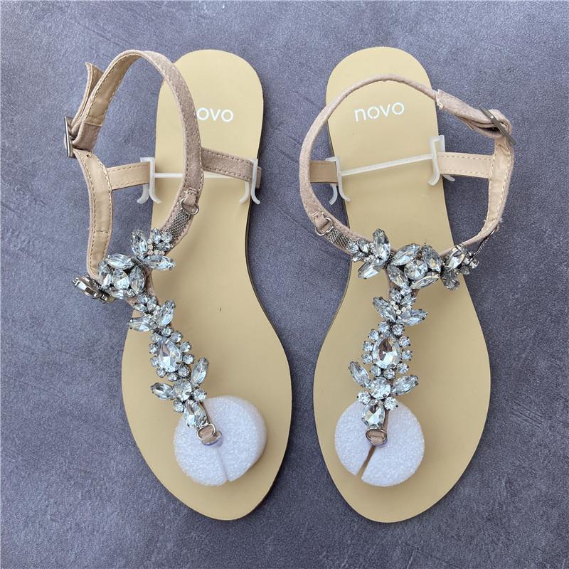 水钻平底罗马鞋 夏季女鞋简约时尚水钻平底夹趾凉鞋女罗马鞋_推荐淘宝好看的女水钻平底罗马鞋