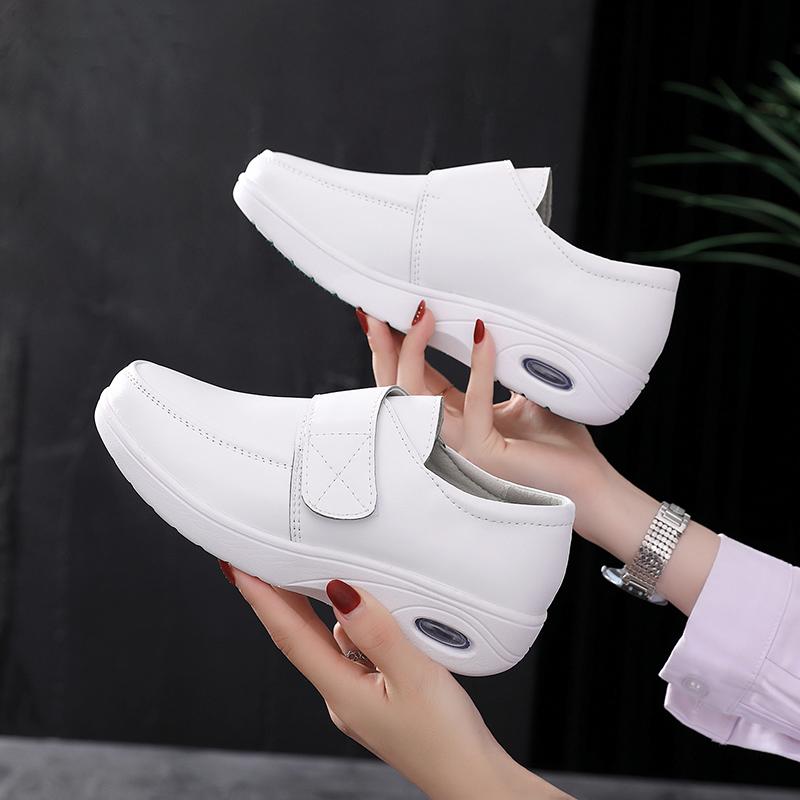 白色厚底鞋 护士鞋女平底厚底白色软底工作透气垫舒适增高秋冬不累脚防滑棉鞋_推荐淘宝好看的白色厚底鞋