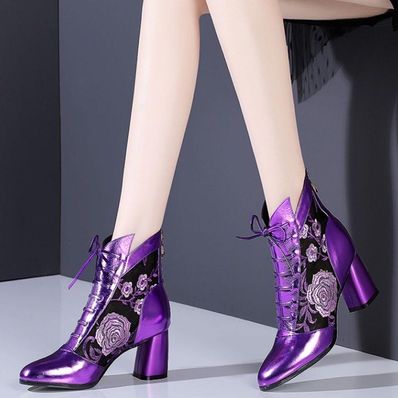 紫色罗马鞋 紫色网纱网靴真皮绣花中跟性感罗马凉靴包头粗跟镂空花朵系带凉鞋_推荐淘宝好看的紫色罗马鞋