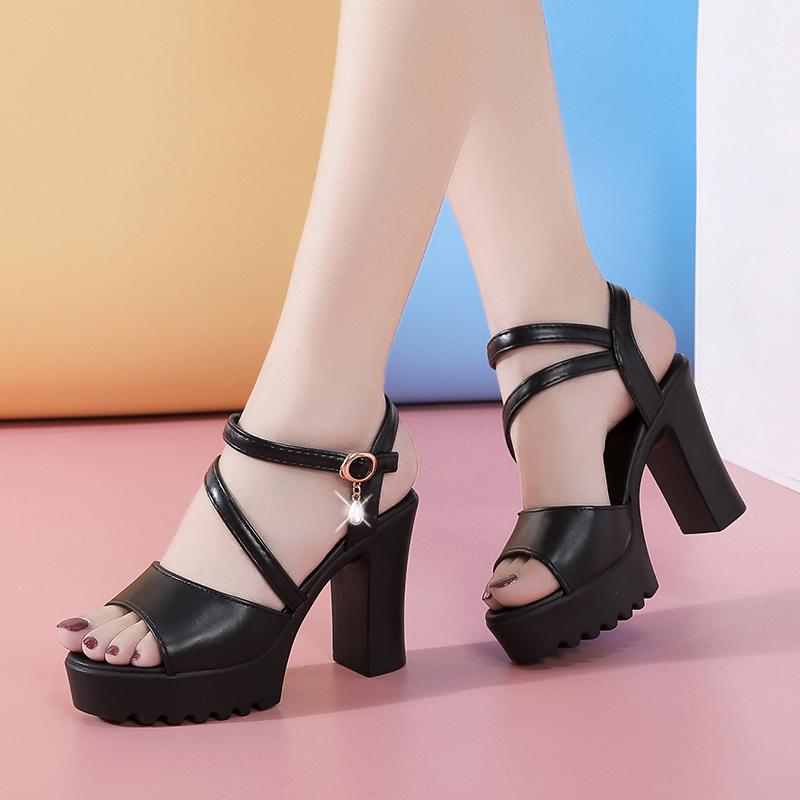 白色罗马鞋 罗马凉鞋女粗跟松糕鞋2020新款夏季增高防水台白色百搭厚底高跟鞋_推荐淘宝好看的白色罗马鞋