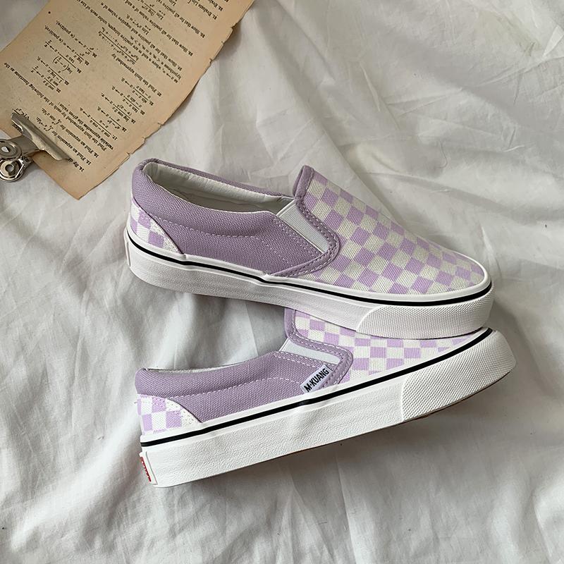 紫色平底鞋 腐女家 紫色一脚蹬懒人鞋女2020新款夏季薄款透气平底帆布鞋ins潮_推荐淘宝好看的紫色平底鞋