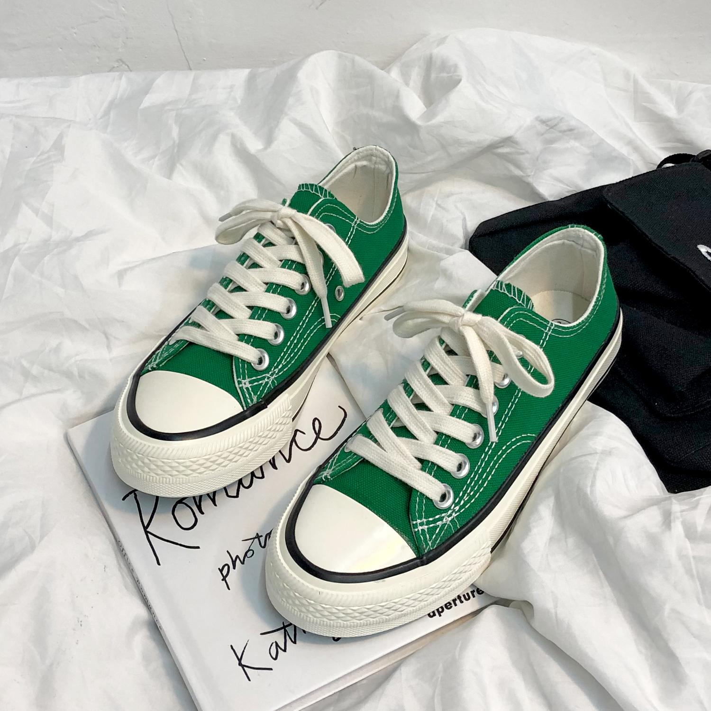绿色平底鞋 1970s低帮绿色帆布鞋女ins韩版学生百搭复古港味平底街拍情侣板鞋_推荐淘宝好看的绿色平底鞋