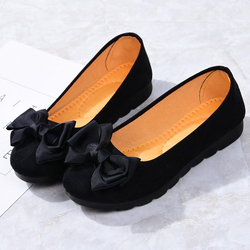 黑色豆豆鞋 老北京布鞋女单鞋豆豆鞋孕妇黑色工作鞋软底防滑妈妈鞋懒人一脚蹬_推荐淘宝好看的黑色豆豆鞋