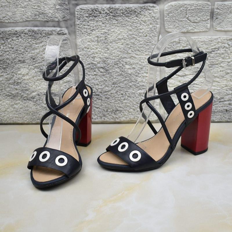 罗马高跟鞋 外贸里外真皮原单女鞋出口罗马鞋高跟粗跟百搭细带凉鞋特价_推荐淘宝好看的女罗马高跟鞋
