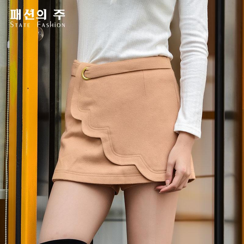 半身裙 尚州秋冬新品百搭不对称简约羊毛半身裤裙女GQQ073_推荐淘宝好看的半身裙