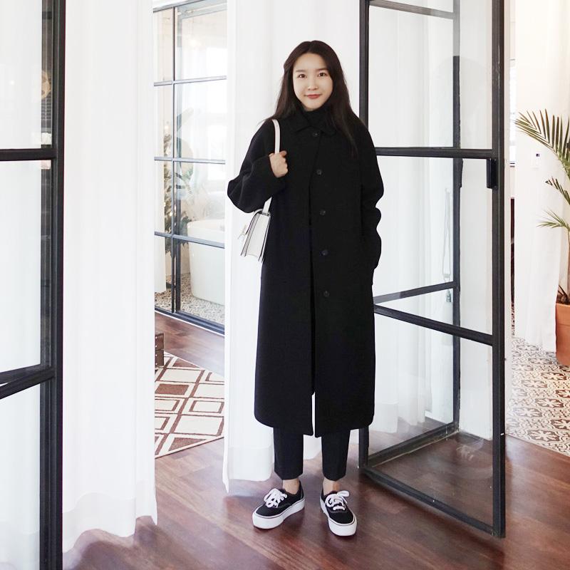 毛呢韩版外套 呢子大衣女中长款黑色显瘦2020年秋冬新款学院风韩版加厚毛呢外套_推荐淘宝好看的女毛呢韩版外套