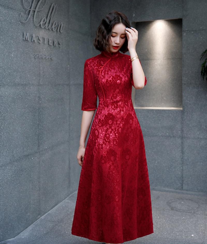 红色蕾丝连衣裙 2021春季中袖长款蕾丝旗袍大摆连衣裙红色敬酒礼服优雅喜庆新娘装_推荐淘宝好看的红色蕾丝连衣裙