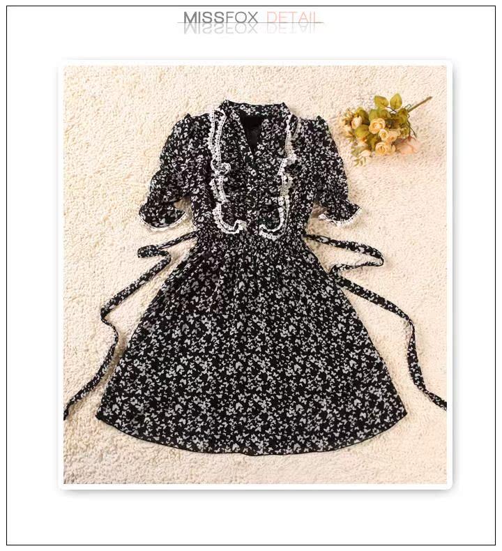 黑色蕾丝连衣裙 任2件包邮春夏装款女装蕾丝荷叶边短袖碎花雪纺连衣裙子9605黑色_推荐淘宝好看的黑色蕾丝连衣裙