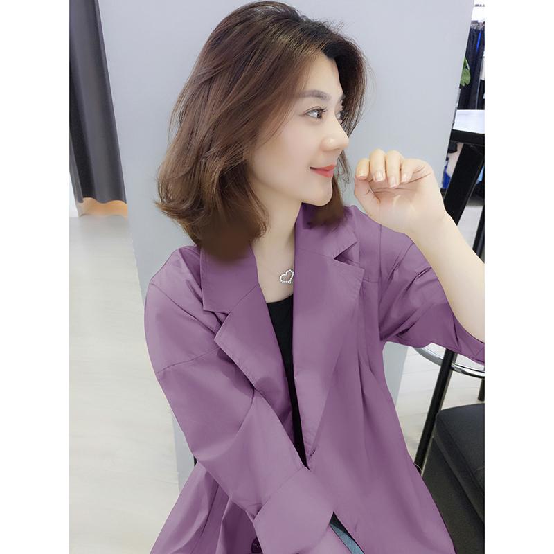 紫色风衣 欧洲站2020秋装新款欧货潮韩版时尚宽松薄款紫色中长款风衣外套女_推荐淘宝好看的紫色风衣