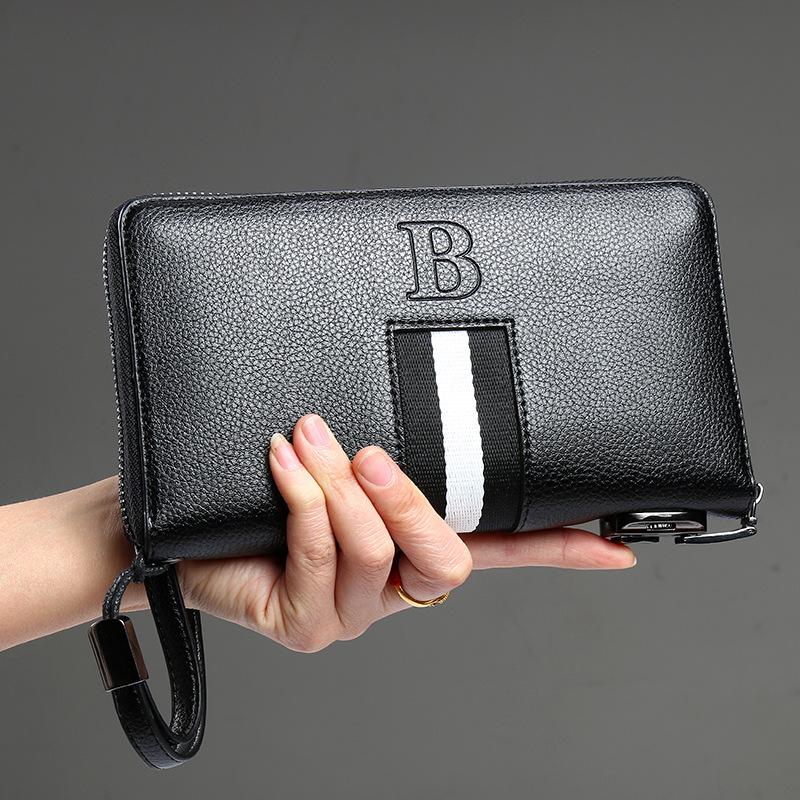 黑色钱包 钱包佰利车黑色长款拉链包新款带密码锁男女小手包商务休闲多功能_推荐淘宝好看的黑色钱包