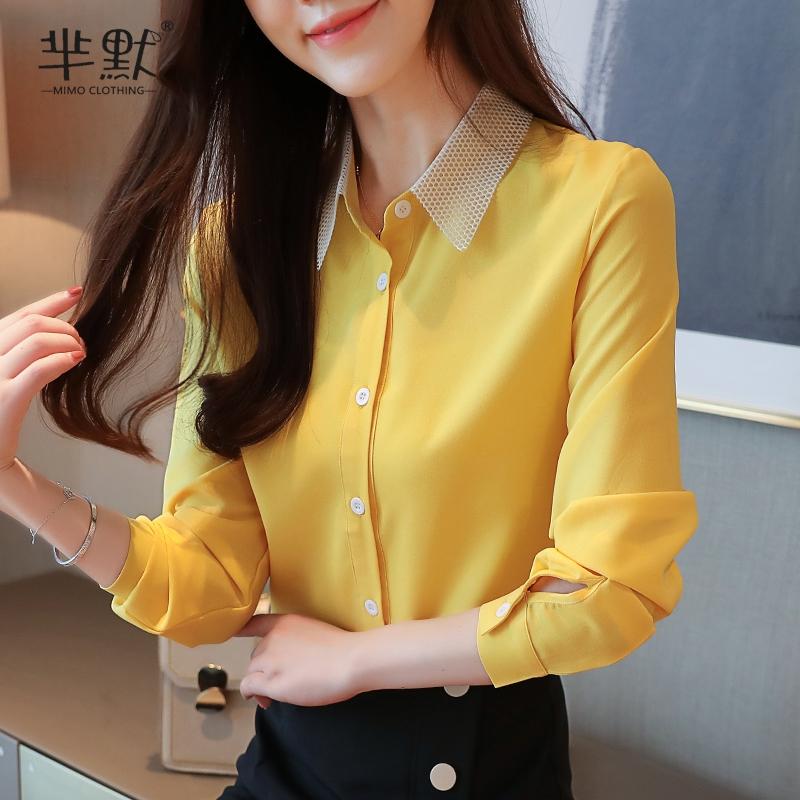 黄色雪纺衫 2020洋气秋季新女装翻领红色雪纺衫上衣显瘦开衫衬衫女打底衫衬衣_推荐淘宝好看的黄色雪纺衫