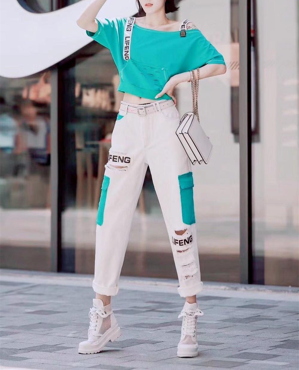 直筒牛仔裤 欧洲站2020夏季新款字母背带一字肩短袖T恤高腰破洞直筒牛仔裤女_推荐淘宝好看的女直筒牛仔裤