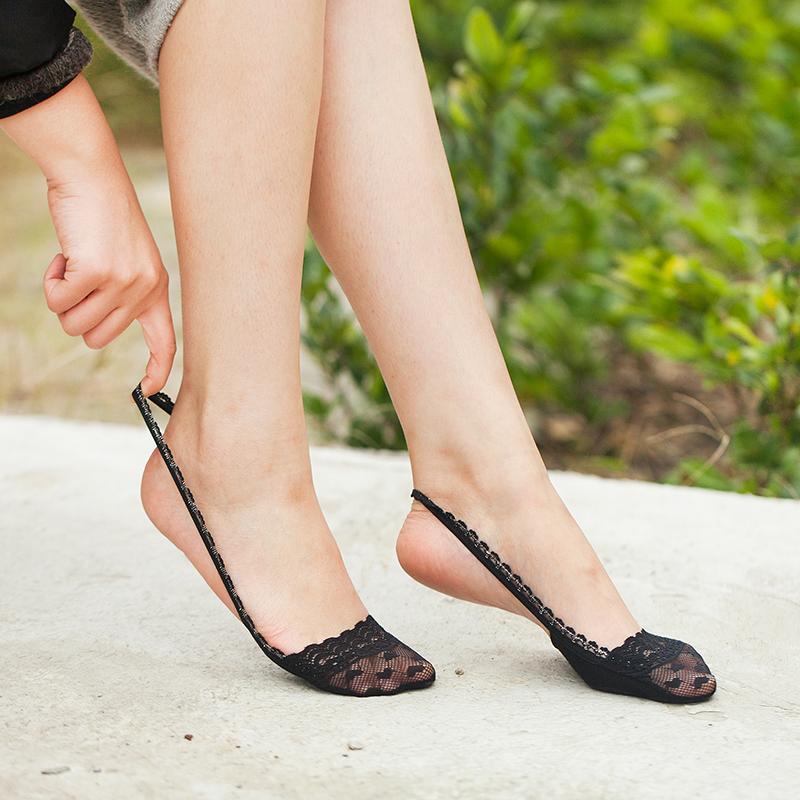 丝袜高跟鞋 5双装纯棉浅口船袜夏季薄款前脚掌半截高跟鞋隐形女袜子 蕾丝吊带_推荐淘宝好看的女袜高跟鞋