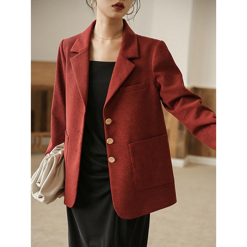 红色小西装 欧可芮 时髦法式复古~红色休闲小西装外套宽松西服女韩版2021秋装_推荐淘宝好看的红色小西装