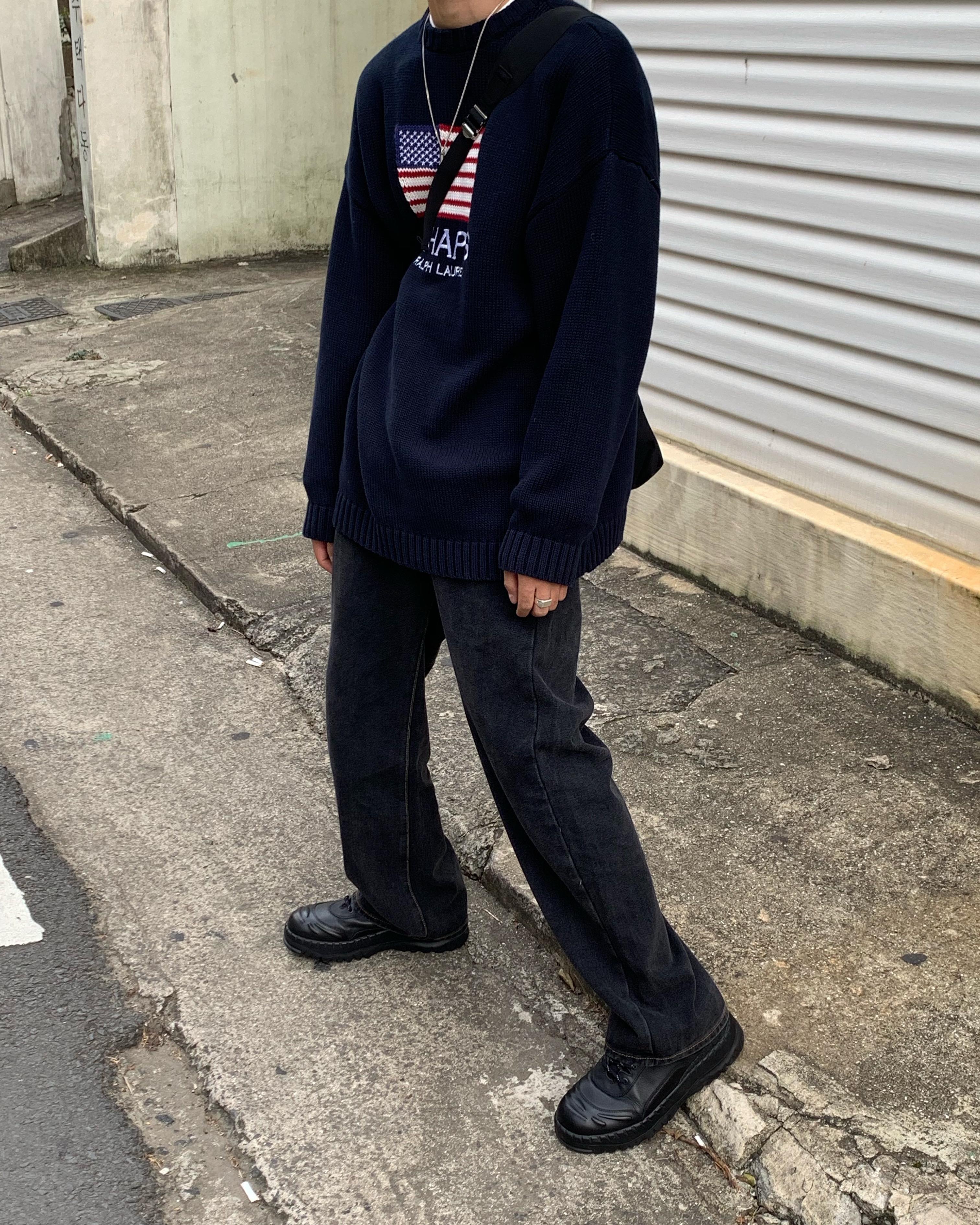 男装牛仔裤 mcmxciii 今年流行色  超带感的 深灰牛仔裤老爹直筒裤男宽松版型_推荐淘宝好看的男牛仔裤