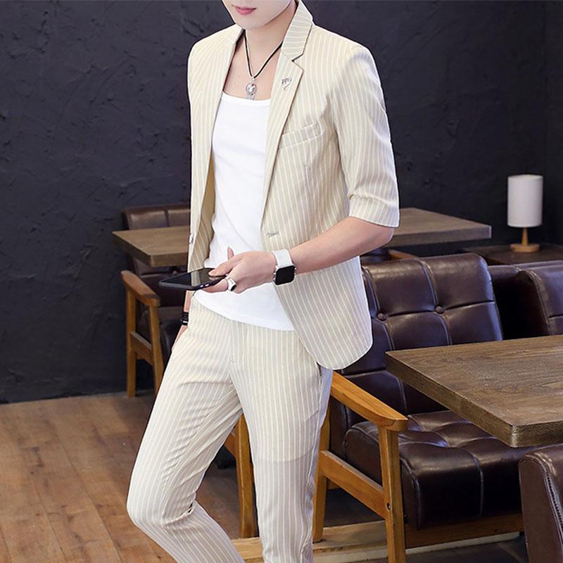 男士小西装 夏季韩版修身短袖小西服套装青年男英伦七分袖中袖西装套装礼服男_推荐淘宝好看的男小西装