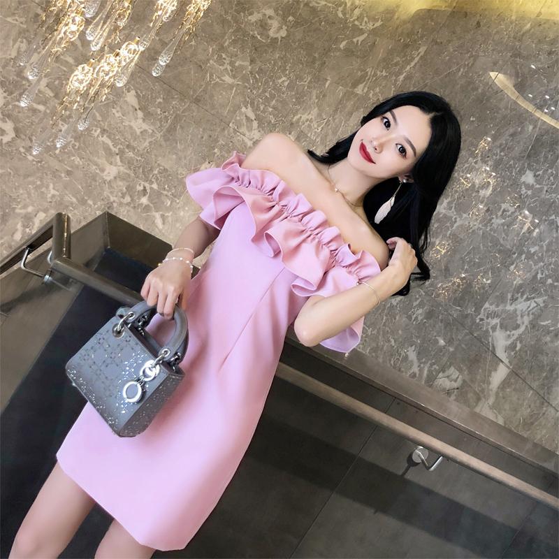 粉红色连衣裙 泰国潮牌2020新款度假抹胸一字领漏背派对小礼服名媛性感连衣裙女_推荐淘宝好看的粉红色连衣裙