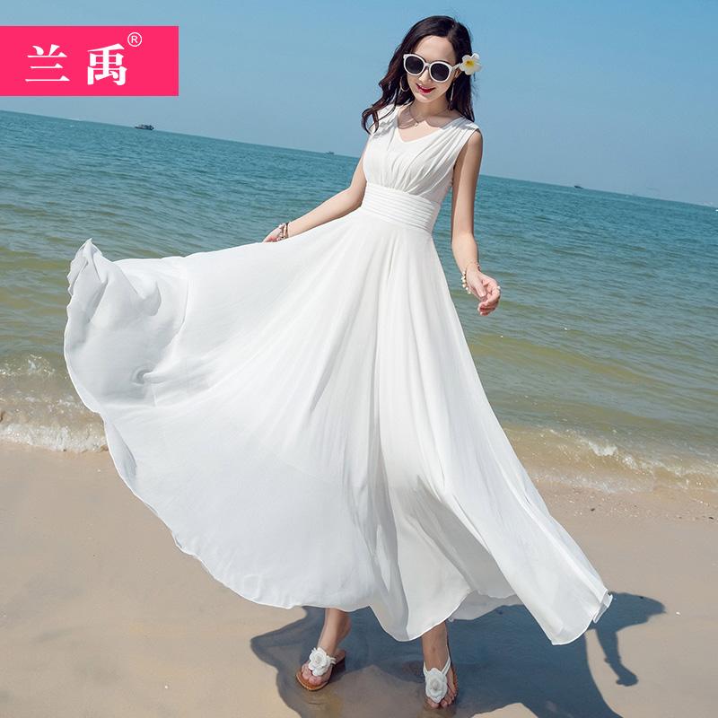 黄色连衣裙 2020白色雪纺连衣裙女夏新款显瘦气质三亚大摆长裙海边度假沙滩裙_推荐淘宝好看的黄色连衣裙