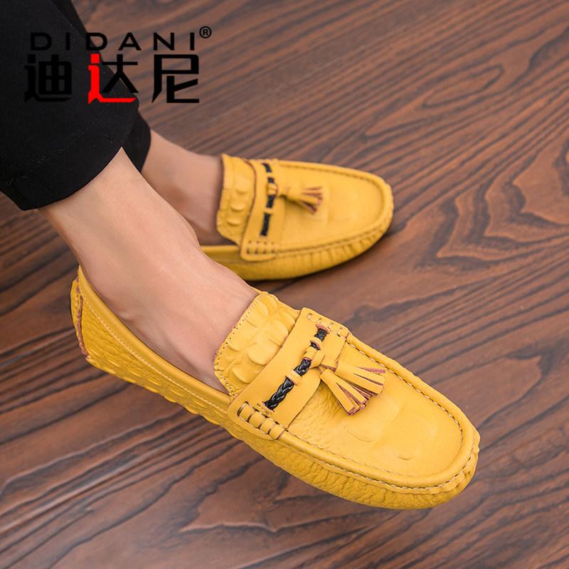 黄色豆豆鞋 2021新款春季休闲鞋透气驾车鞋子韩版豆豆鞋男真皮个性黄色懒人鞋_推荐淘宝好看的黄色豆豆鞋