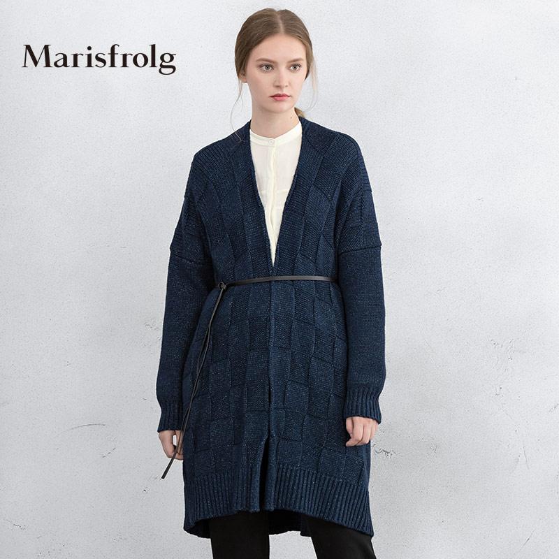 玛丝菲尔女装折扣 Marisfrolg玛丝菲尔女装时尚气质中长款羊毛针织开衫秋_推荐淘宝好看的玛丝菲尔折扣