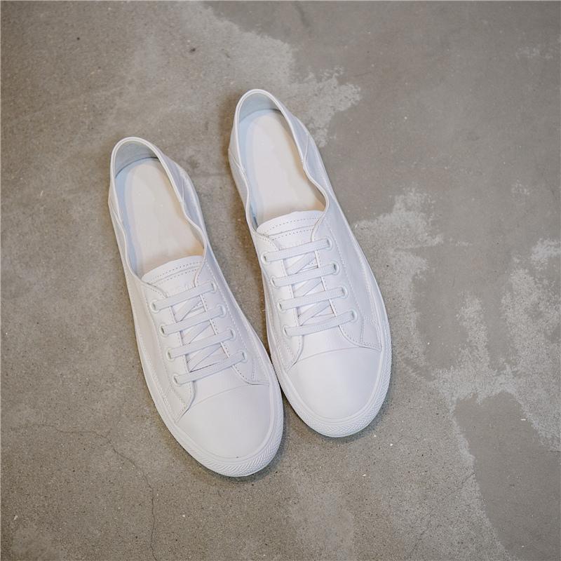平底鞋图片 叙美牛皮小白鞋女夏款平底浅口单层软底百搭纯白一脚蹬懒人休闲鞋_推荐淘宝好看的女平底鞋