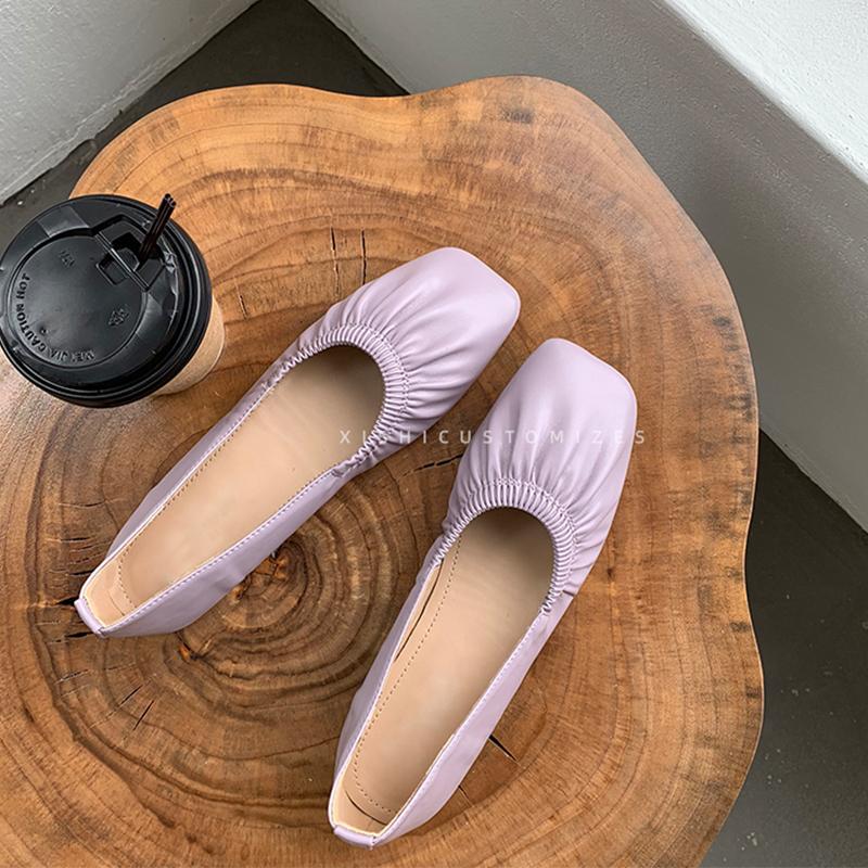 紫色单鞋 2020春夏紫色褶皱方头浅口单鞋女平底ins软皮四季豆豆底跟奶奶鞋_推荐淘宝好看的紫色单鞋