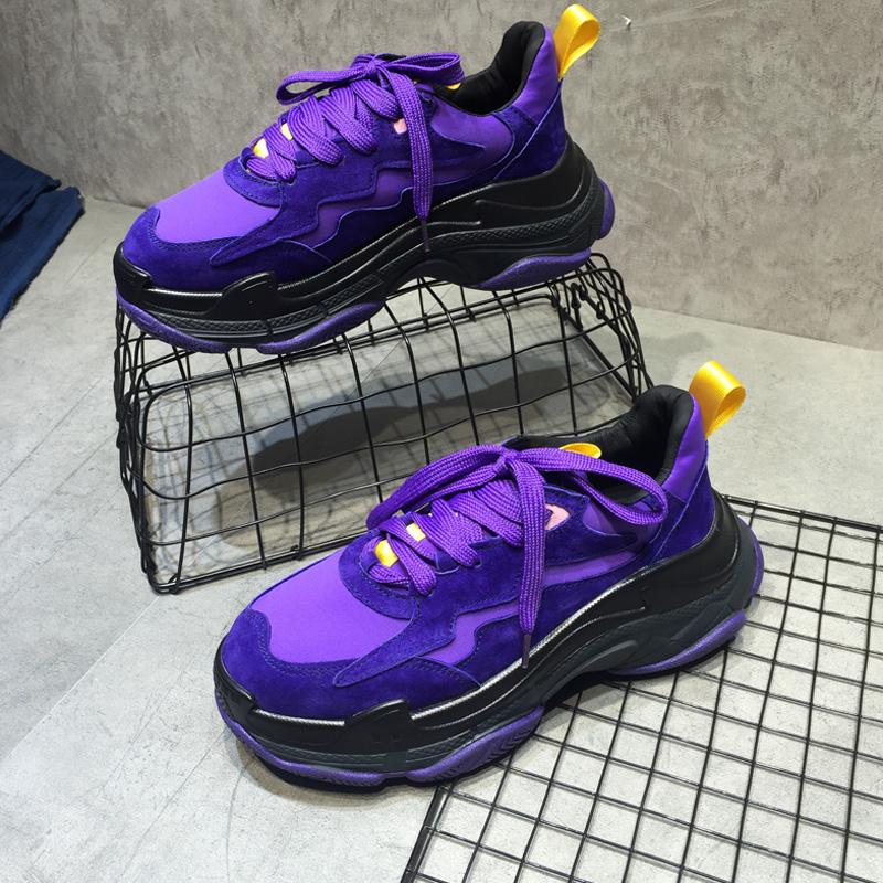 紫色松糕鞋 2020秋ins超火的鞋子女老爹鞋紫色百搭厚底休闲真皮松糕底运动鞋_推荐淘宝好看的紫色松糕鞋