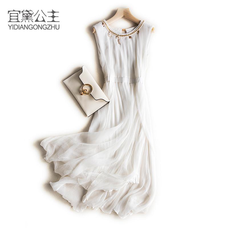 白色修身连衣裙 2019新款高端女装连衣裙夏桑蚕丝中长款度假气质真丝修身长裙_推荐淘宝好看的白色修身连衣裙