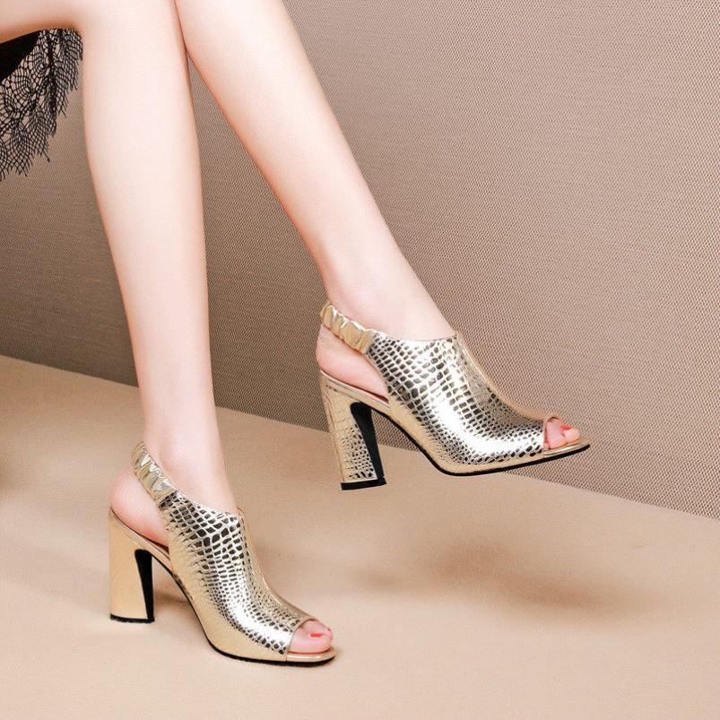 镂空罗马鞋 凉鞋女2021年春夏季新款镂空高跟鞋女罗马鞋鱼嘴粗跟时尚罗马女鞋_推荐淘宝好看的镂空罗马鞋