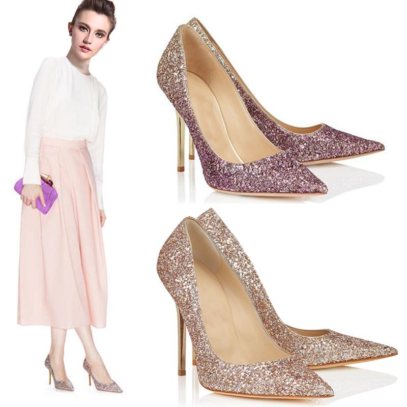 紫色尖头鞋 新款定制婚鞋渐变色亮片jc尖头高跟鞋浅口细跟女单鞋子香槟金紫色_推荐淘宝好看的紫色尖头鞋
