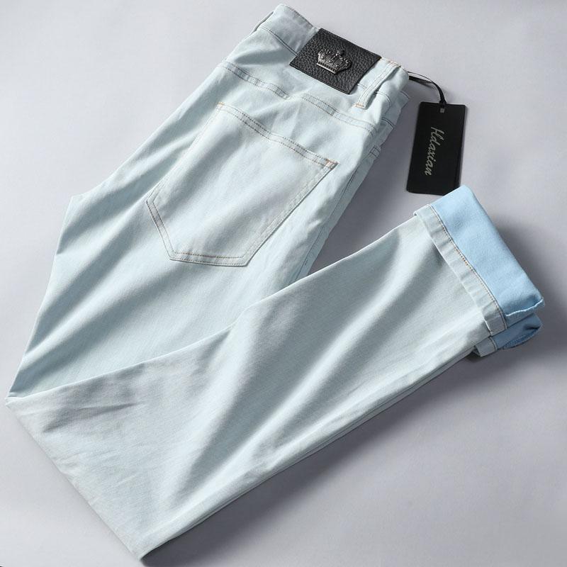 男士浅蓝色牛仔裤 让你舒适的一塌糊涂春夏浅蓝色水洗修身小直筒天丝混纺牛仔裤男_推荐淘宝好看的男浅蓝色牛仔裤