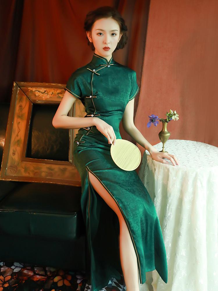 淘宝商城女装连衣裙 改良旗袍绿色修身高开叉长款女复古中国风老上海日常生活装连衣裙_推荐淘宝好看的连衣裙