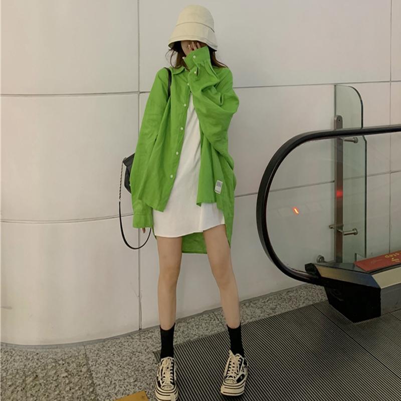 绿色衬衫 chic港味绿色衬衣女防晒衫2020春季新款宽松BF慵懒风长袖衬衫上衣_推荐淘宝好看的绿色衬衫