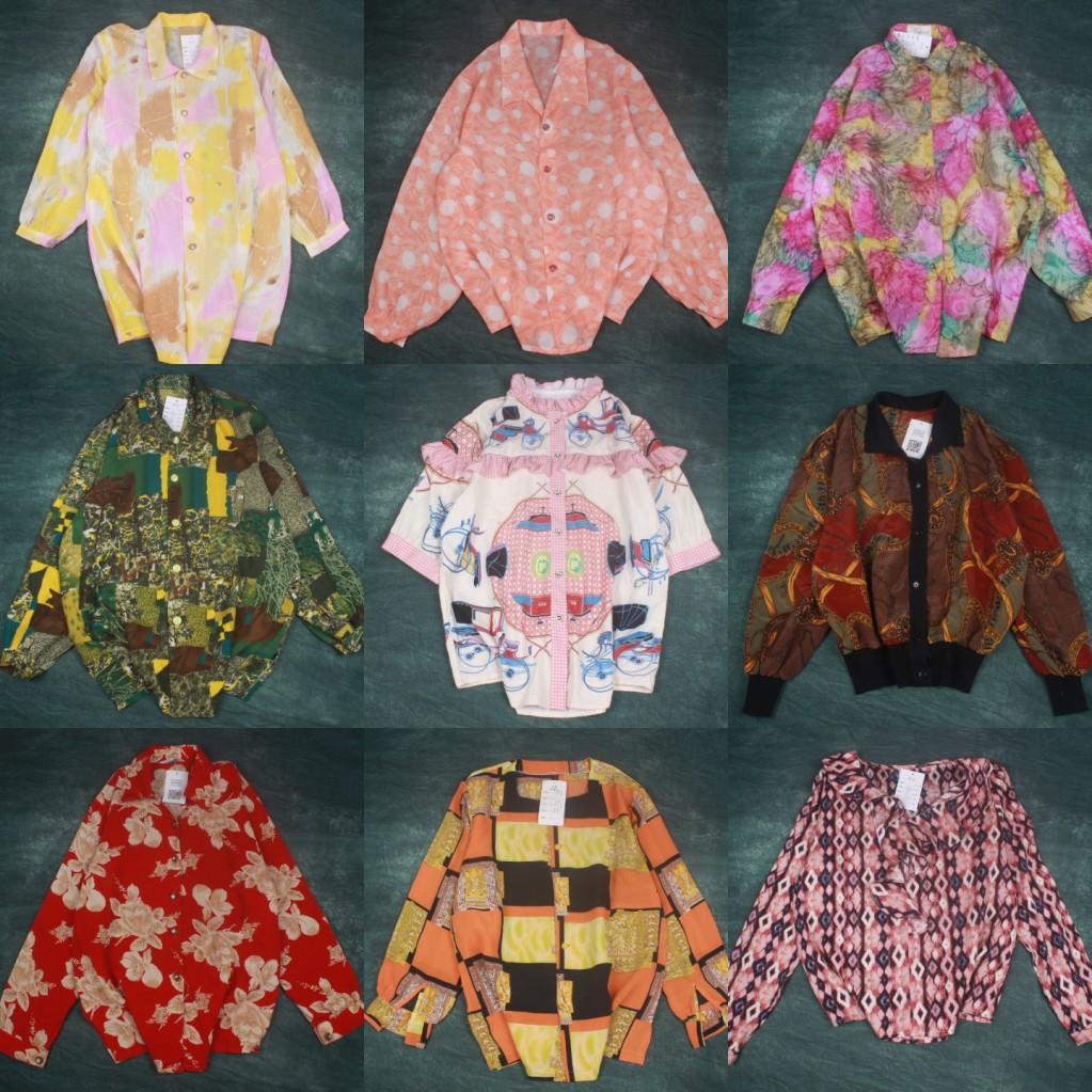 碎花衬衫 古着衬衫vintage精品复古夏威夷巴洛克雪纺碎花图案宽松上衣女Q22_推荐淘宝好看的女碎花衬衫