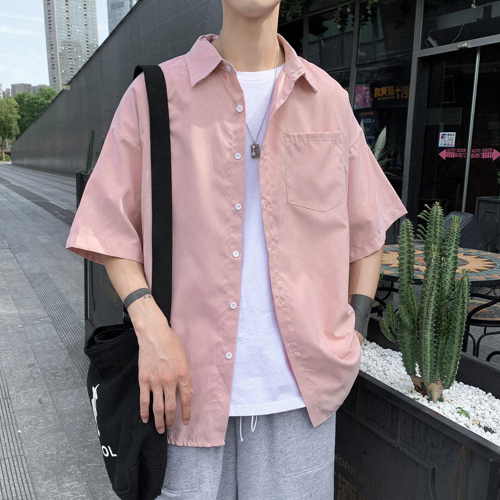 男士衬衫 粉色衬衫男夏季短袖韩版ins港风日系寸衫痞帅气潮流薄款衬衣外套_推荐淘宝好看的男衬衫
