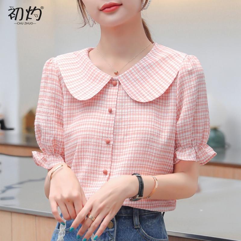 红色格子衬衫 2020夏装新款韩版学院风格子娃娃领衬衫女撞色纽扣设计感洋气上衣_推荐淘宝好看的女红色格子衬衫