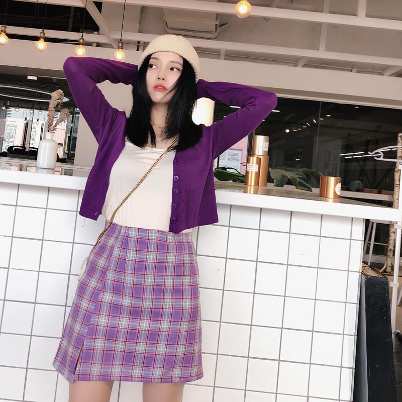 紫色半身裙 2020新款紫色格子不规则半身裙开叉包臀a字短裙女ins超火的高腰裙_推荐淘宝好看的紫色半身裙