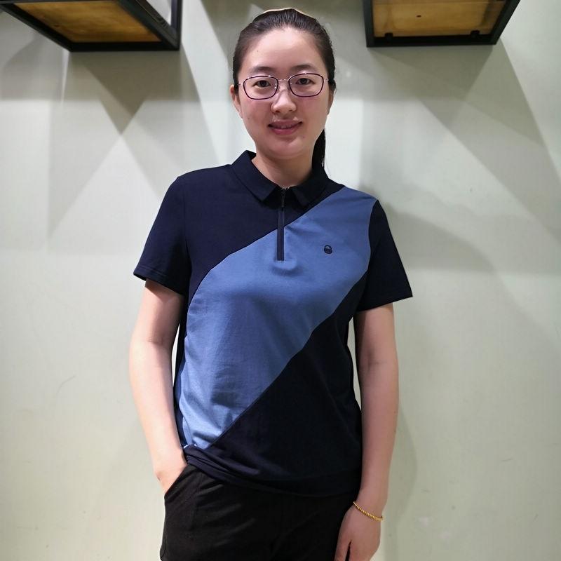 女短袖t恤 韫yun正品2020夏季新品女装斜拼色短袖女T恤休闲时尚女POLO领上衣_推荐淘宝好看的女短袖t恤