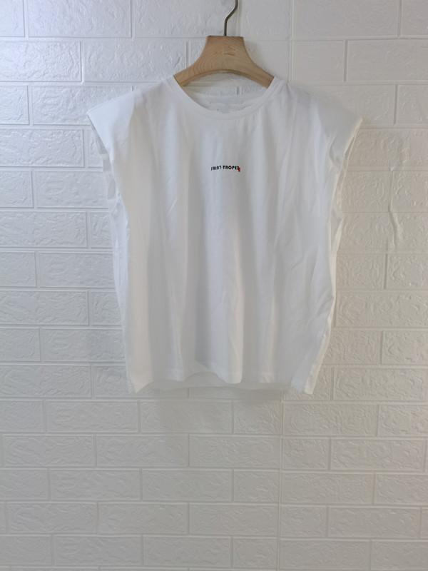 百家好T恤 米蔻百家好21夏季新款韩版无袖圆领白色女式T恤衫MVTS328C_推荐淘宝好看的百家好T恤女