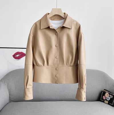 真皮皮衣 2021春新款黑色修身真皮皮衣女小个子短款绵羊皮夹克外套欧货爆款_推荐淘宝好看的女真皮皮衣