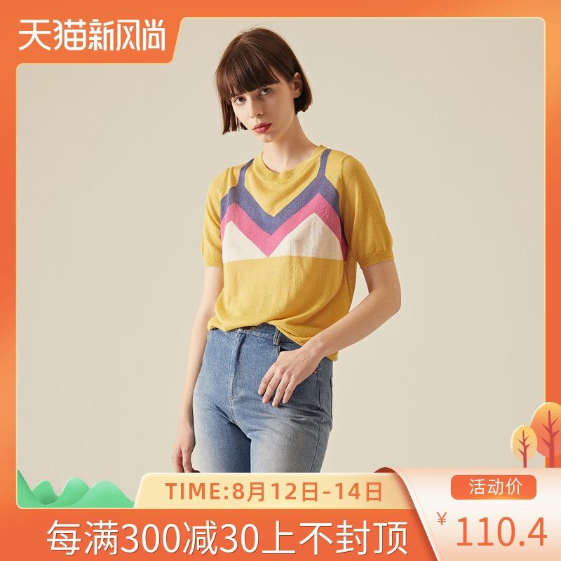 两件套针织衫 LeeMonsan枺上18夏季时尚假两件休闲透气短袖针织衫T恤女HS18020_推荐淘宝好看的女两件套针织衫