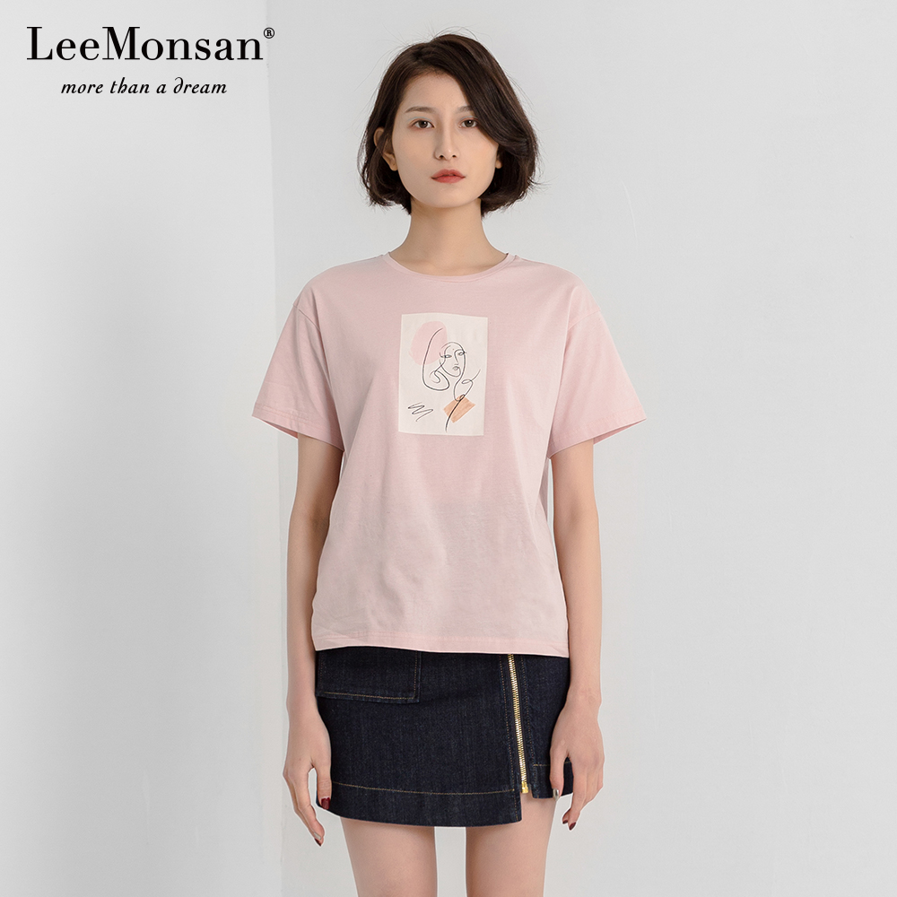 短袖t恤 LEEMONSAN枺上19夏新款粉色印花短袖宽松T恤女 设计师11219002_推荐淘宝好看的女短袖t恤