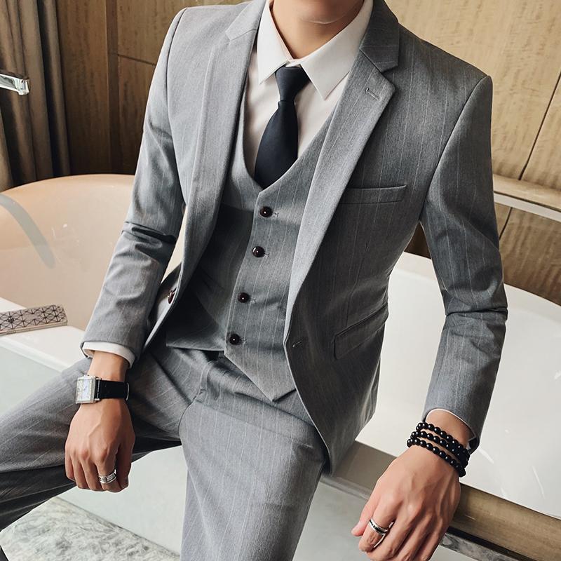 男士小西装 条纹小西装男三件套修身韩版帅气一套西服青年正装新郎结婚礼服潮_推荐淘宝好看的男小西装